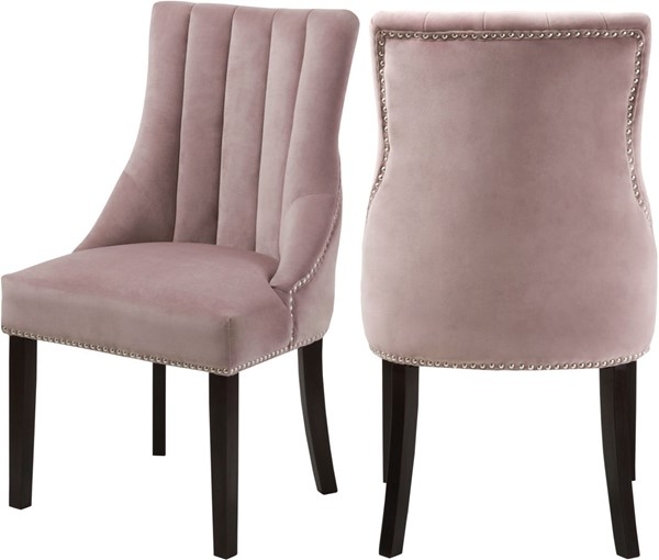 2 Meridian Furniture Oxford Pink Velvet Dining Chairs MRD-721Pink-C