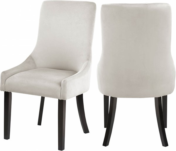 Design Edge Nimmitabel 2  Cream Velvet Dining Chairs DE-23029817