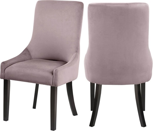 Design Edge Nimmitabel 2  Pink Velvet Dining Chairs DE-23029857