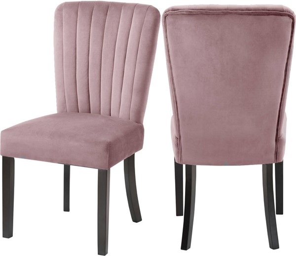 2 Meridian Furniture Shelby Pink Velvet Dining Chairs MRD-725Pink-C
