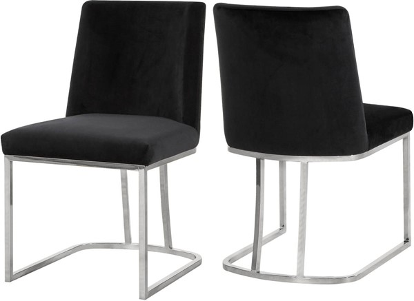 Design Edge Talbingo 2  Black Velvet Chrome Base Dining Chairs DE-23030299
