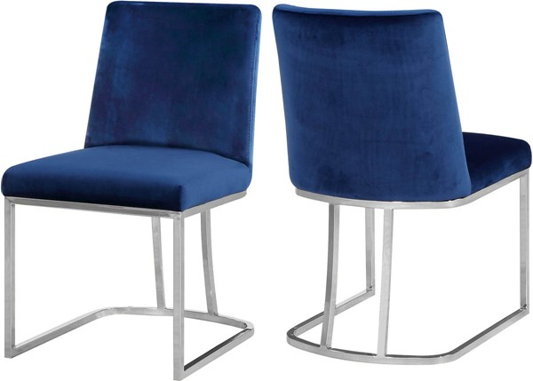 Design Edge Talbingo 2  Navy Velvet Chrome Base Dining Chairs DE-23030319