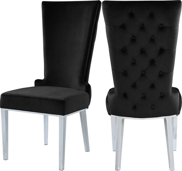 Design Edge Crows Nest 2  Black Velvet Dining Chairs DE-23462491