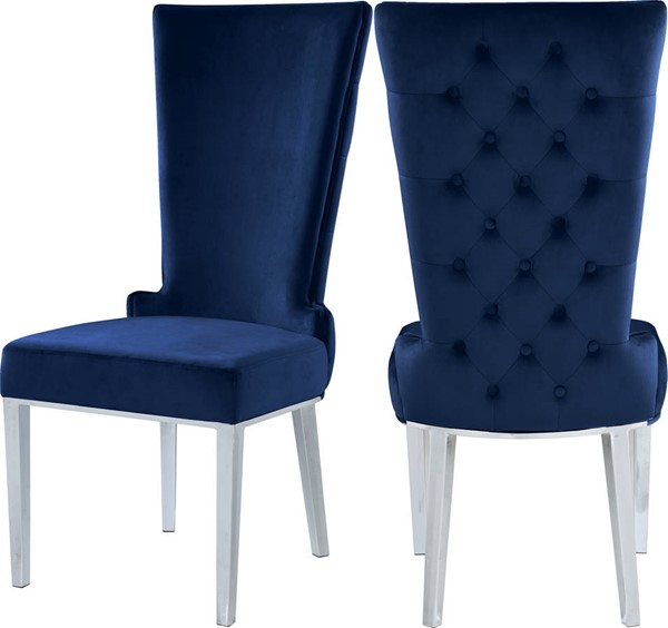 2 Meridian Furniture Serafina Navy Velvet Dining Chairs MRD-729Navy-C
