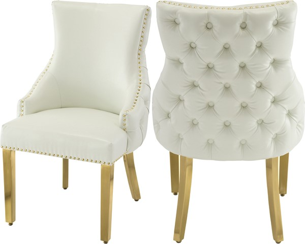2 Meridian Furniture Tuft White Faux Leather Dining Chairs MRD-730White-C