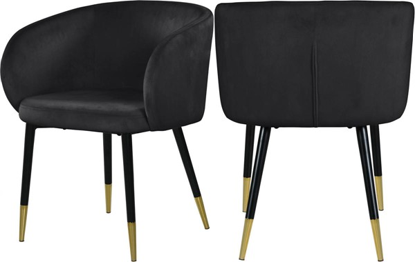 Meridian Furniture Louise Black Velvet Dining Chairs MRD-733-DR-CH-VAR