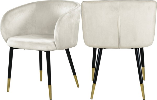 Design Edge Warrimoo  Cream Velvet Dining Chair DE-23462549