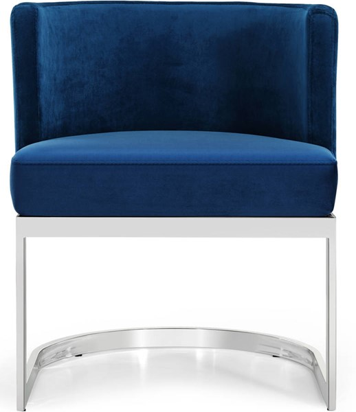 Design Edge Port Macquarie  Navy Velvet Chrome Base Dining Chair DE-22249028