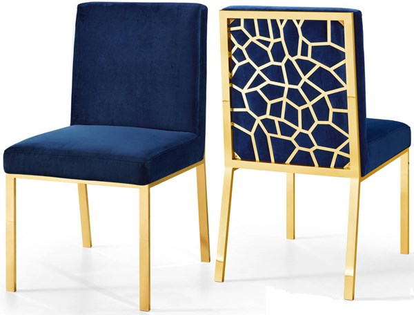 Design Edge Bedourie 2  Navy Velvet Gold Base Dining Chairs DE-22250210
