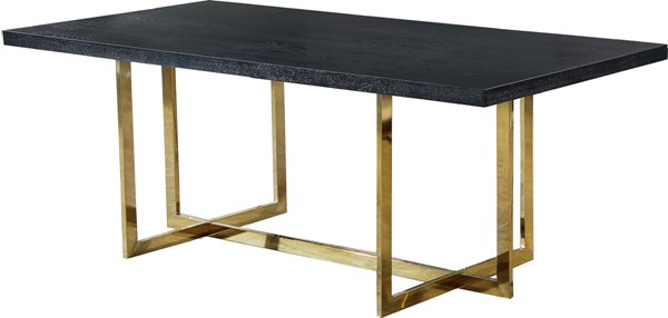 Design Edge Old Junee  Gold Metal Wood Dining Table DE-22611595
