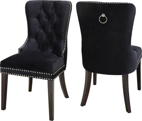 Design Edge Augathella 2  Black Velvet Dining Chairs DE-22249928