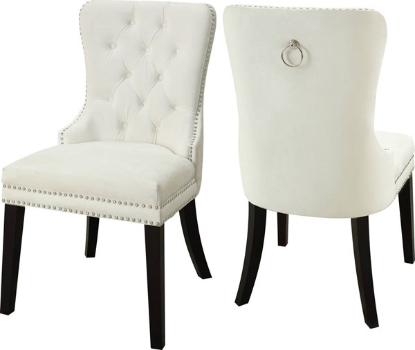 2 Meridian Furniture Nikki Cream Velvet Dining Chairs MRD-740Cream-C
