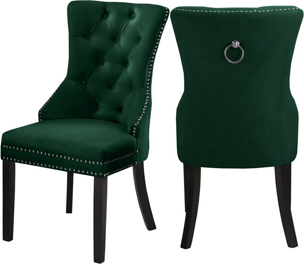 2 Meridian Furniture Nikki Green Velvet Dining Chairs MRD-740Green-C