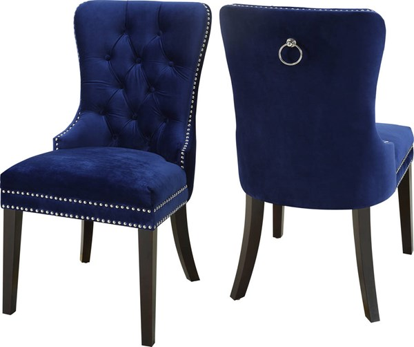 Design Edge Augathella 2  Navy Velvet Dining Chairs DE-22249958