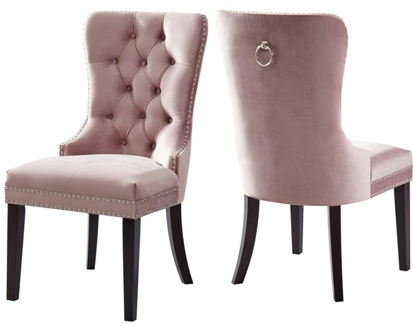 Design Edge Augathella 2  Pink Velvet Dining Chairs DE-22456698