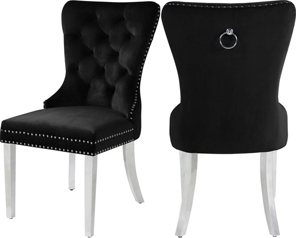Meridian Furniture Carmen Black Velvet Dining Chairs MRD-743-DR-CH-VAR