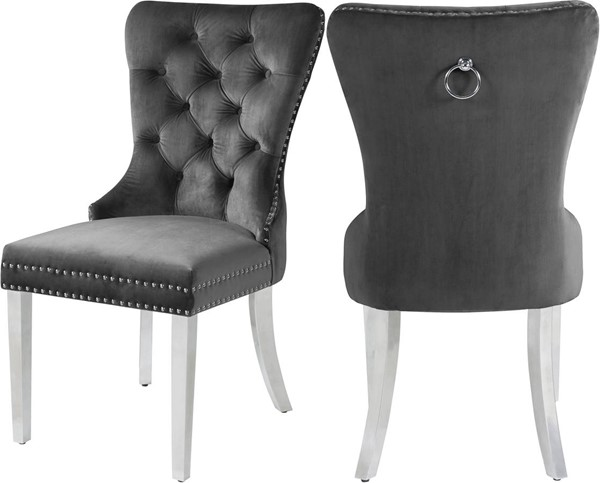 Design Edge Mendooran 2  Grey Velvet Dining Chairs DE-23462606