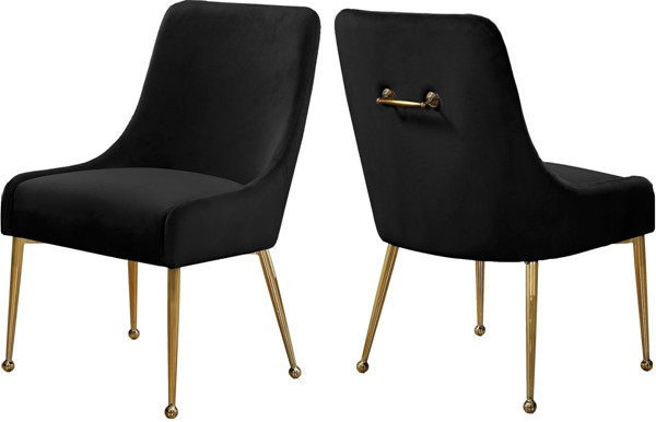 Design Edge Birdsville 2  Black Velvet Dining Chairs DE-22780726