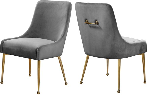 2 Meridian Furniture Owen Grey Velvet Dining Chairs MRD-744Grey