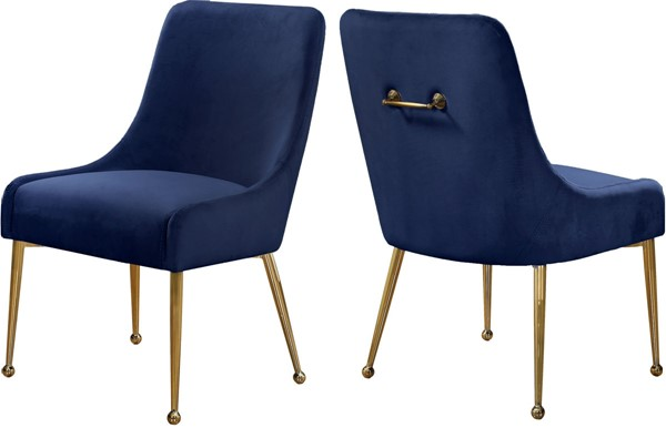 Design Edge Birdsville 2  Navy Velvet Dining Chairs DE-22780756