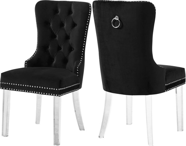 Design Edge Adavale 2  Black Velvet Dining Chairs DE-22821508