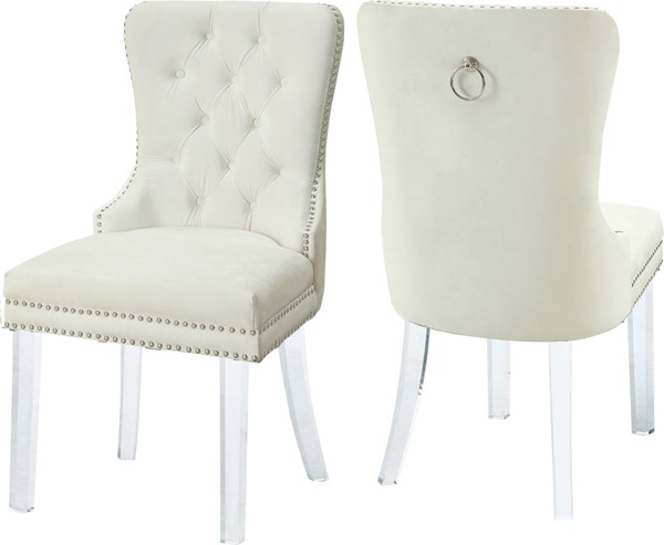 Design Edge Adavale 2  Cream Velvet Dining Chairs DE-22821528