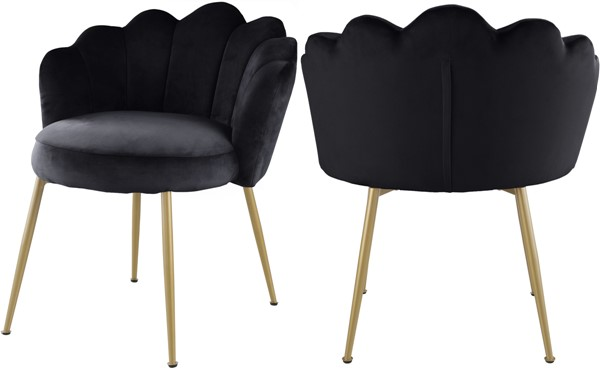 2 Meridian Furniture Claire Black Velvet Dining Chairs MRD-748Black-C