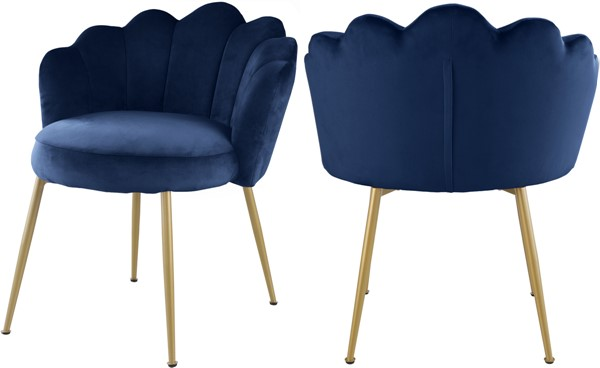 2 Meridian Furniture Claire Navy Velvet Dining Chairs MRD-748Navy-C