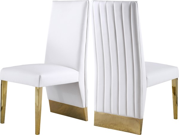 2 Meridian Furniture Porsha White Faux Leather Dining Chairs MRD-749White-C