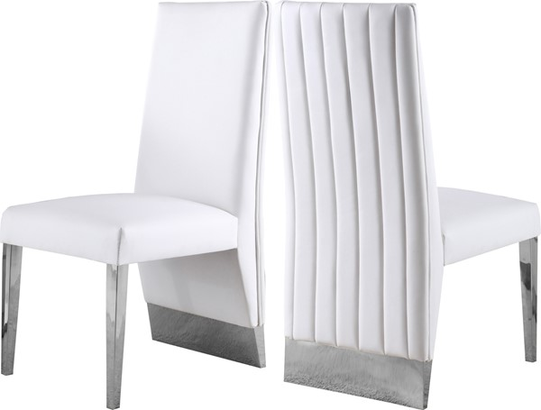 2 Meridian Furniture Porsha White Dining Chairs MRD-750White-C