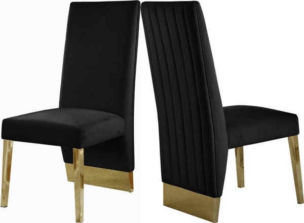 2 Meridian Furniture Porsha Black Velvet Gold Legs Dining Chairs MRD-755Black-C