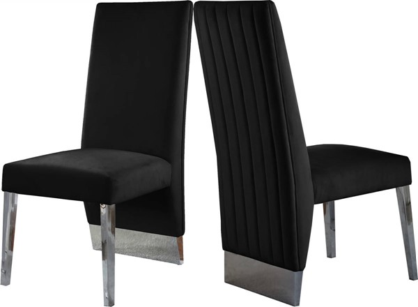 Design Edge Brisbane 2  Black Velvet Chrome Legs Dining Chairs DE-23462687