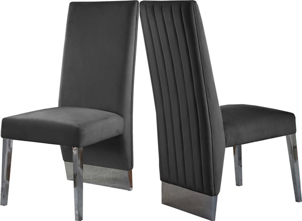 Design Edge Brisbane 2  Grey Velvet Chrome Legs Dining Chairs DE-23462697