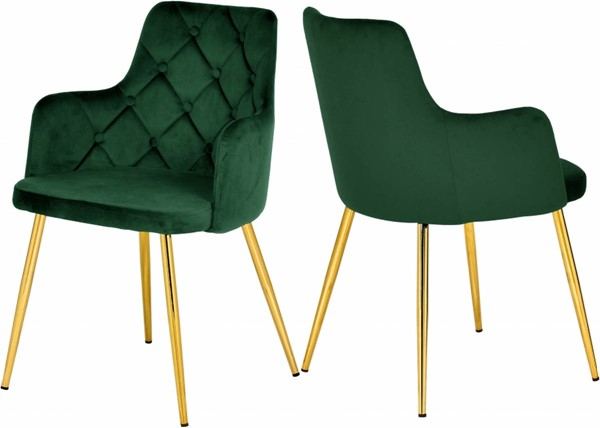 Design Edge Cloncurry 2  Green Velvet Gold Base Dining Chairs DE-23030687