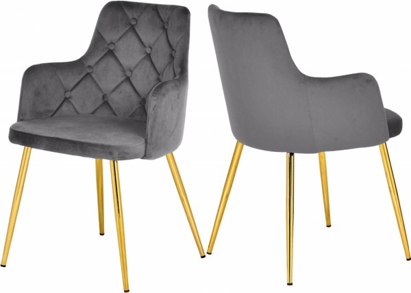 2 Meridian Furniture Salvatore Grey Velvet Gold Base Dining Chairs MRD-757Grey