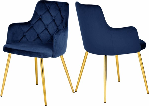 2 Meridian Furniture Salvatore Navy Velvet Gold Base Dining Chairs MRD-757Navy