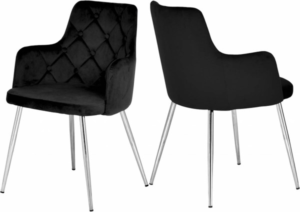 Design Edge Cloncurry 2  Black Velvet Chrome Base Dining Chairs DE-23030727