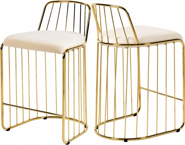 Design Edge Rankins Springs  Cream Velvet Gold Base Stool DE-23030050