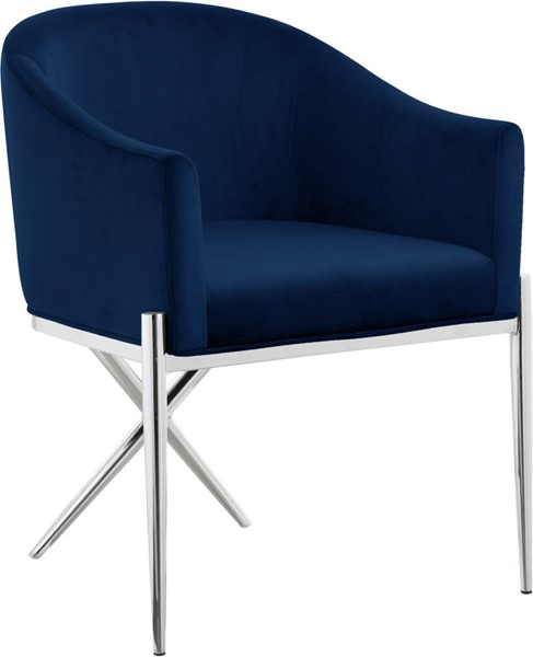 Meridian Furniture Xavier Navy Chrome Dining Chair MRD-762Navy-C