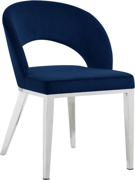 Design Edge Charleville  Navy Velvet Chrome Base Dining Chair DE-23273739