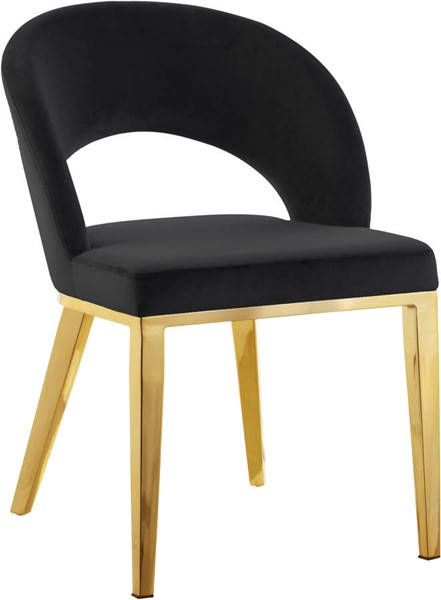 Design Edge Charleville  Black Velvet Gold Base Dining Chairs DE-23273749