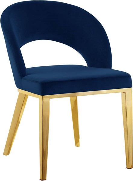 Design Edge Charleville  Navy Velvet Gold Base Dining Chair DE-23273789
