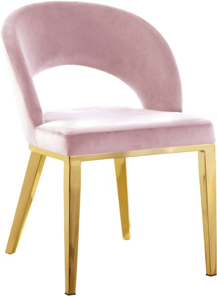 Meridian Furniture Roberto Pink Velvet Gold Legs Dining Chair MRD-765Pink-C