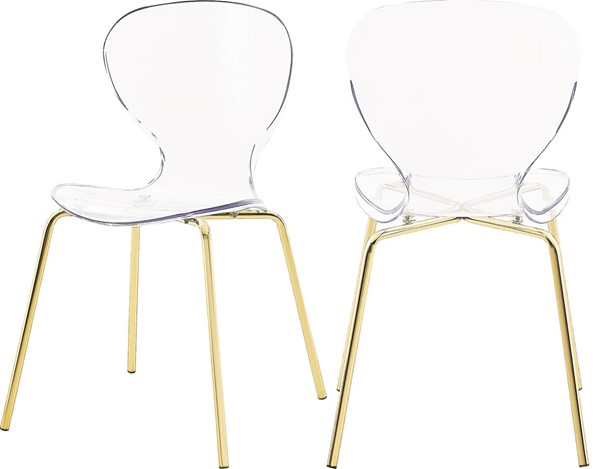 2 Meridian Furniture Clarion Gold Legs Dining Chairs MRD-770-C