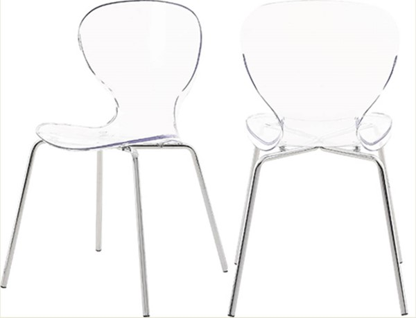 2 Meridian Furniture Clarion Chrome Legs Dining Chairs MRD-771-C