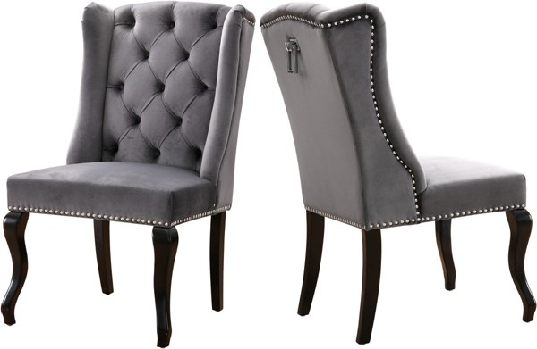 Design Edge Gayndah 2  Grey Velvet Dining Chairs DE-22611673