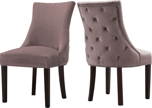 Design Edge South Gundagai 2  Pink Velvet Dining Chairs DE-22611782