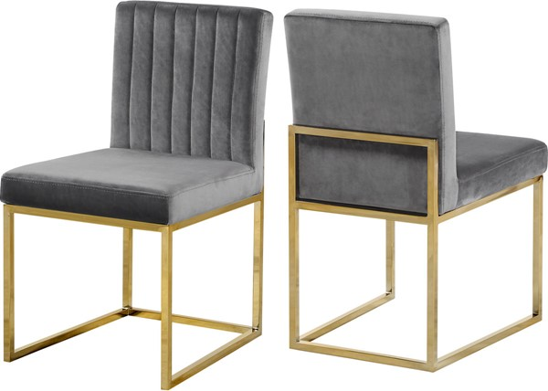 Design Edge Raymond Terrace 2  Grey Velvet Gold Base Dining Chairs DE-22611976
