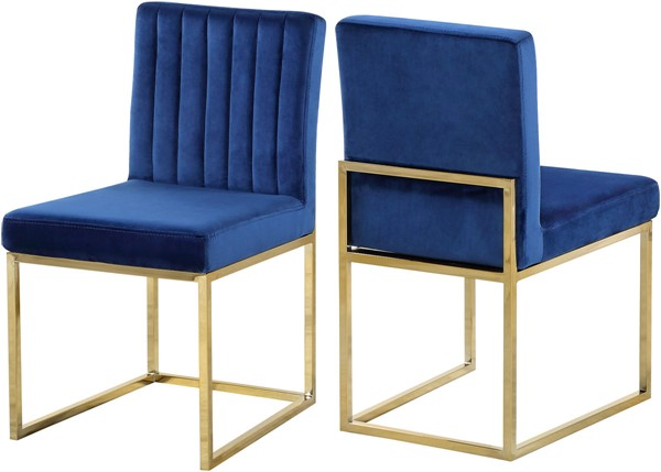 Design Edge Raymond Terrace 2  Navy Velvet Gold Base Dining Chairs DE-22611986