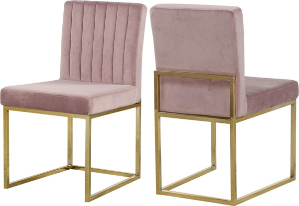 Design Edge Raymond Terrace 2  Pink Velvet Gold Base Dining Chairs DE-22611996